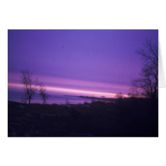Purple Sunset Over Lake Michigan Card