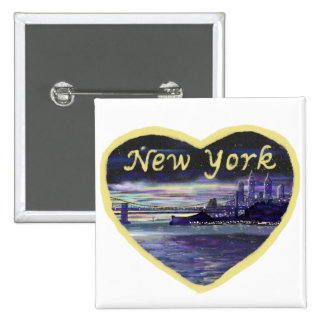Purple sunset over New York City painting 15 Cm Square Badge