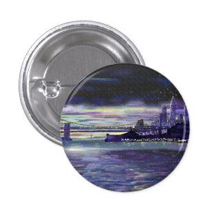 Purple sunset over New York City painting 3 Cm Round Badge