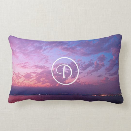 Purple sunset photo custom monogram lumbar pillow