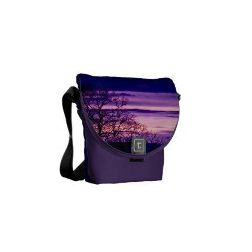 Purple Sunset Tree Silhouette Mini Messenger bag