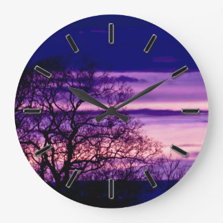 Purple Sunset Tree Silhouette wall clock