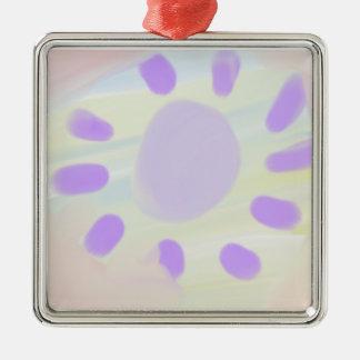 Purple sunshine Silver-Colored square decoration
