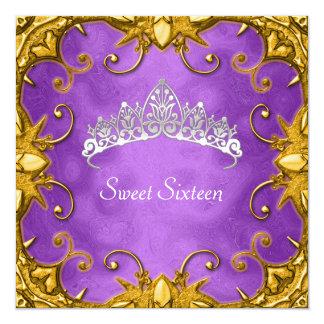 Purple Sweet 16 Birthday Party Gold White Tiara Card