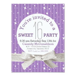 Purple Sweet 16 Birthday Party 4.25x5.5 Paper Invitation Card