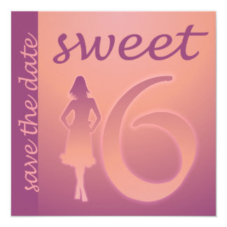 Purple Sweet 16 Save the Date Card