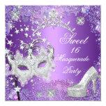 Purple Sweet  Sixteen 16 Masquerade Party Tiara Personalized Invitations