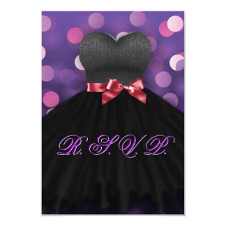 Purple Sweet Sixteen Black Dress Birthday RSVP 9 Cm X 13 Cm Invitation Card