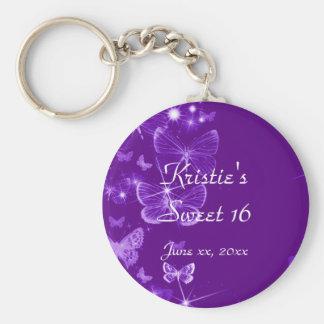 Purple Sweet Sixteen Party Favor Key Chain