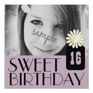 Purple Sweet Sixteenth Party for Country Girls 13 Cm X 13 Cm Square Invitation Card