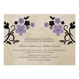 Purple Sweet Vintage Floral Wedding Invite