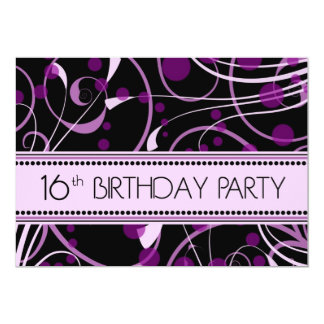 Purple Swirl 16th Birthday Party Invitation Cards