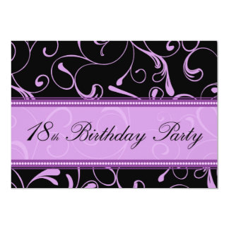 "Purple Swirl 18th Birthday Party Invitation Cards 5"" X 7"" Invitation Card"
