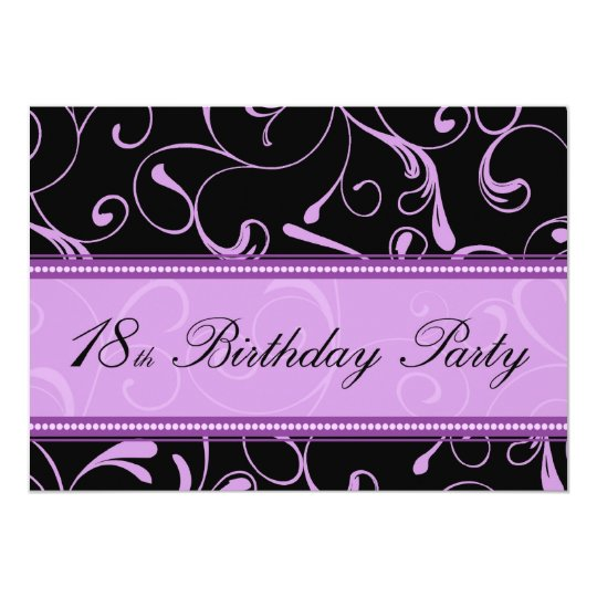 Purple Swirl 18th Birthday Party Invitation Cards