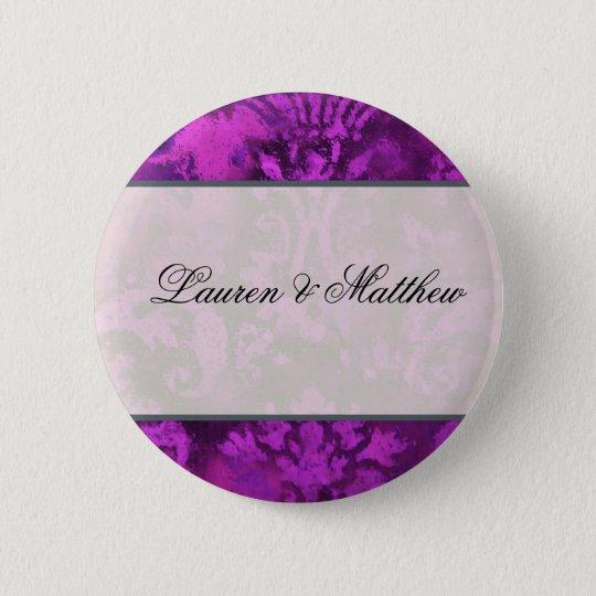 Purple swirl 6 cm round badge