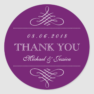 Purple Swirl and Curl Ornament Wedding Stickers