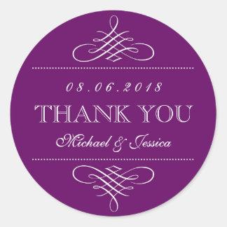 Purple Swirl and Curl Ornament Wedding Stickers