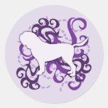 Purple Swirl Dogue de Bordeaux Round Stickers