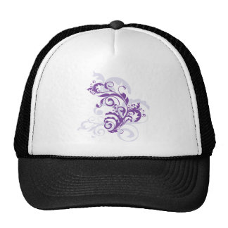 Purple swirl floral design trucker hats