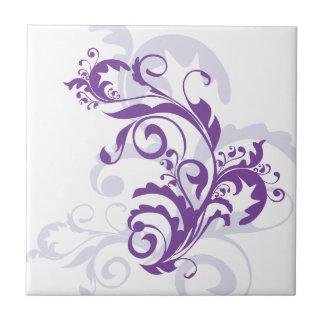 Purple swirl floral design small square tile