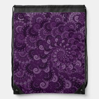 Purple Swirl Fractal Art Pattern Drawstring Bags