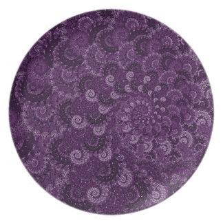 Purple Swirl Fractal Art Pattern Plates