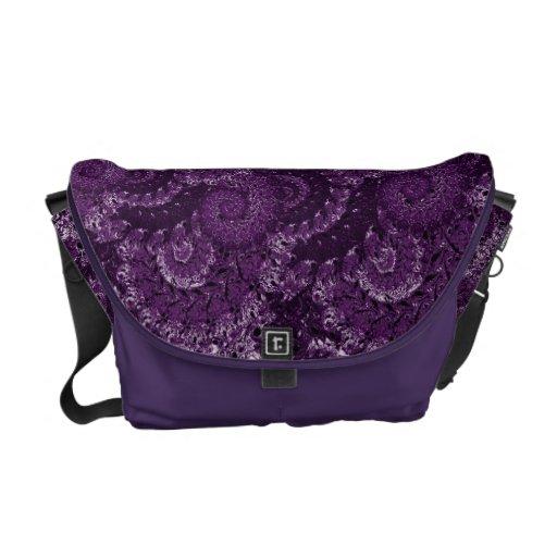Purple Swirl Fractal Pattern Messenger Bags