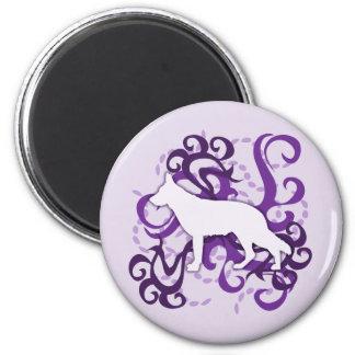 Purple Swirl German Shepherd 6 Cm Round Magnet