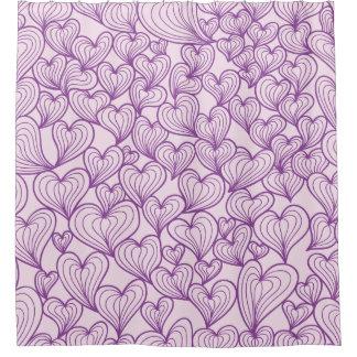 Purple swirl hearts pattern Shower curtain
