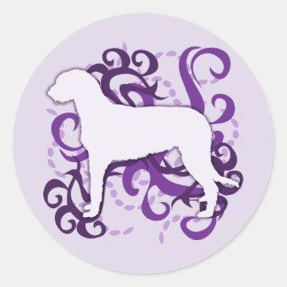 Purple Swirl Irish Wolfhound Round Sticker