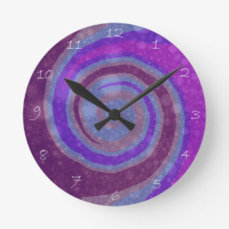 Purple Swirl Modern Abstract Art Clock