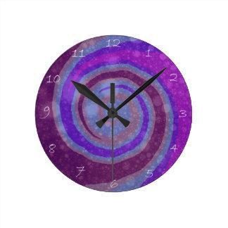 Purple Swirl Modern Abstract Art Clock