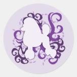Purple Swirl Poodle Stickers