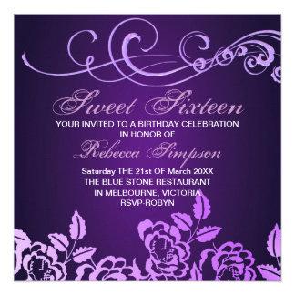 Purple Swirl Rose Sweet 16 Birthday Invitation