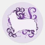Purple Swirl Silky Terrier Classic Round Sticker