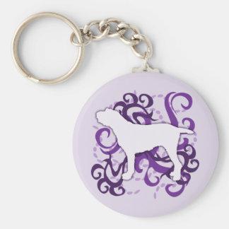 Purple Swirl Spinone Italiano Basic Round Button Key Ring