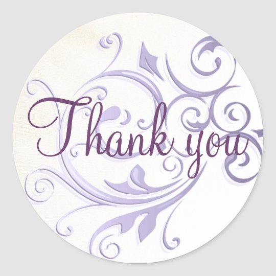 Purple Swirl Thank You Sticker/Seal Classic Round Sticker