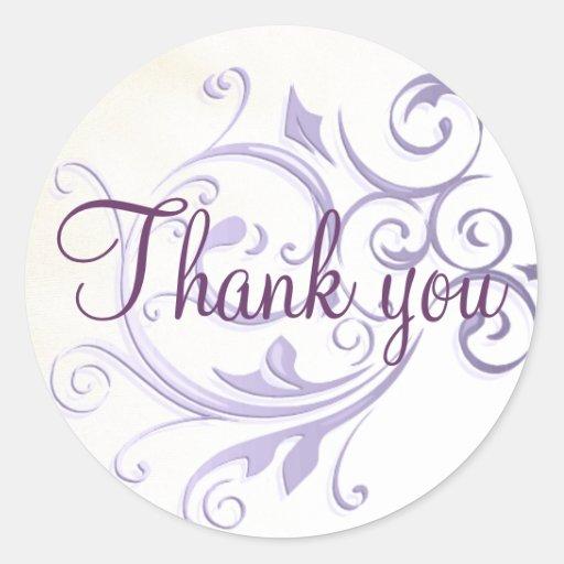 Purple Swirl Thank You Sticker/Seal Round Sticker
