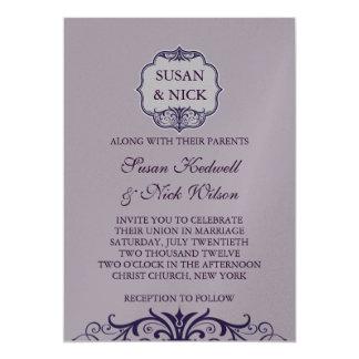 Purple Swirl Wedding Invitations Silver Paper
