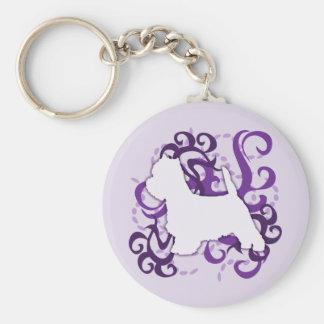 Purple Swirl Westie Basic Round Button Key Ring