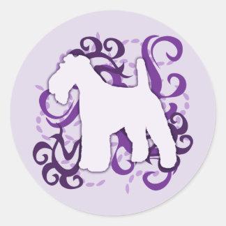 Purple Swirl Wire Fox Terrier Stickers