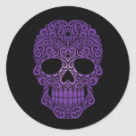 Purple Swirling Sugar Skull on Black Stickers
