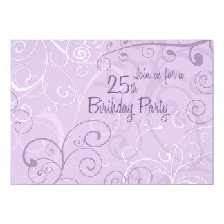 "Purple Swirls 25th Birthday Party Invitation Cards 5"" X 7"" Invitation Card"