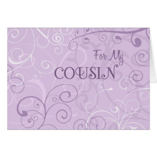 Purple Swirls Cousin Bridesmaid Invitation Card