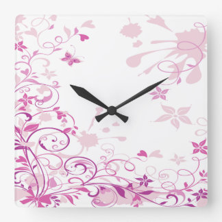 Purple Swirls Flowers Square Wall Clock