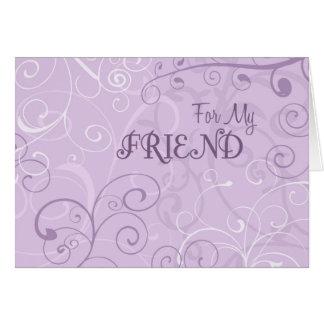 Purple Swirls Friend Bridesmaid Invitation Card
