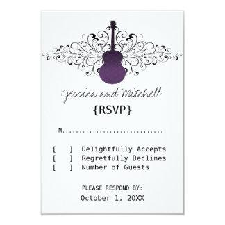 Purple Swirls Guitar Response Card 9 Cm X 13 Cm Invitation Card
