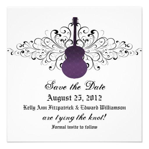 Purple Swirls Guitar Save the Date Invite