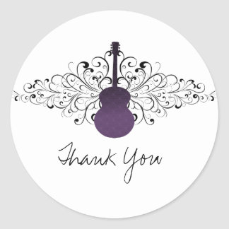 Purple Swirls Guitar Thank You Stickers