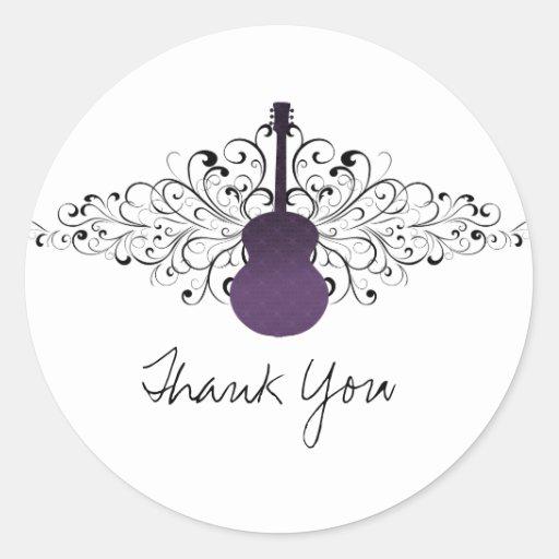 Purple Swirls Guitar Thank You Stickers